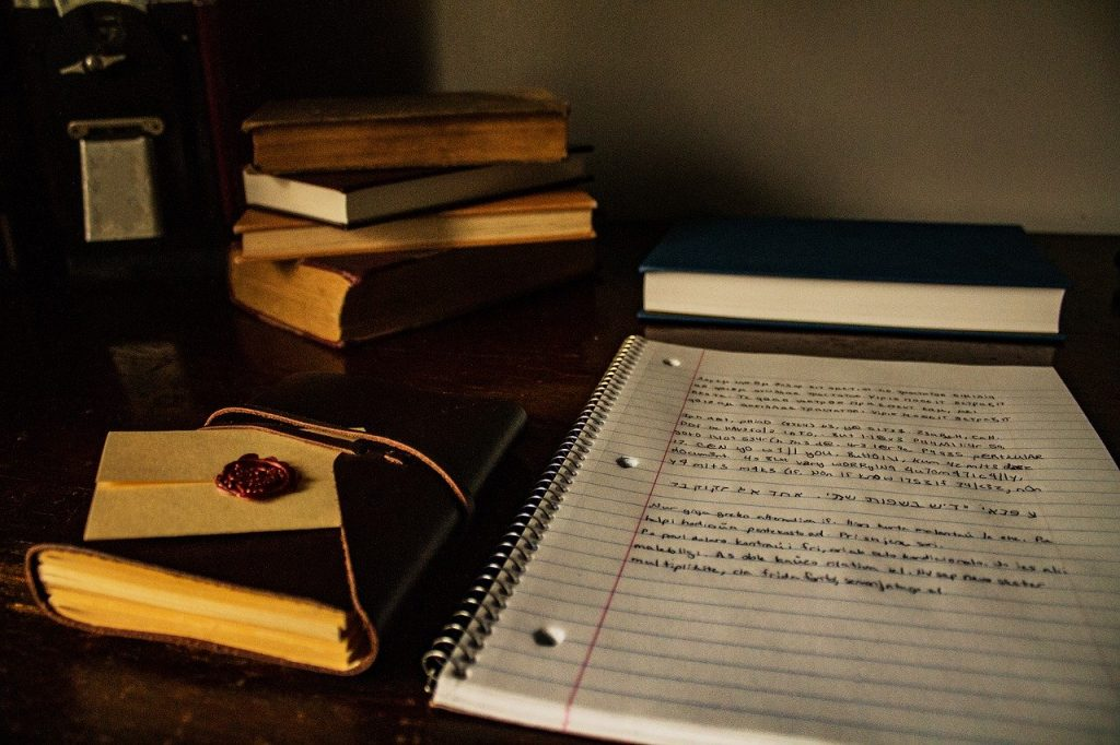 desk, books, writing